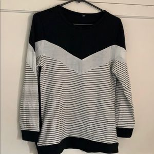 Color block striped  long sleeve